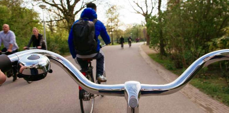 Biking in Vondelpark in Amsterdam