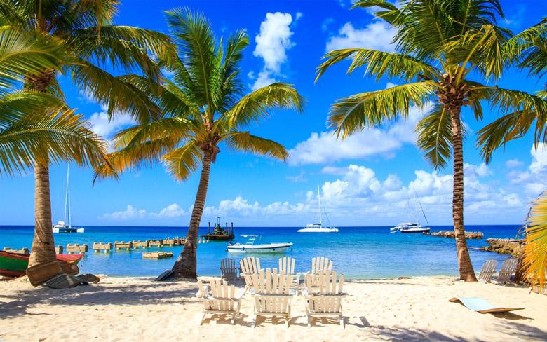 Beautiful caribbean beach on Isle Saona in Punta Cana