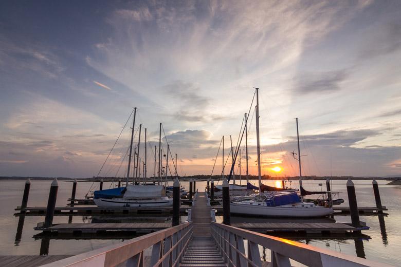 Yatch moored at Danga Bay Johor Bahru during amazing sunset