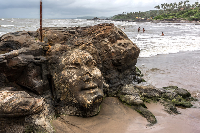 Shiva Rock Carving at Little Vagator Beach in Goa