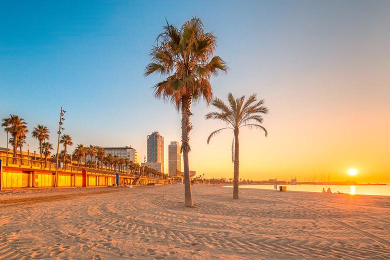 Sunny Barceloneta Beach in Barcelona