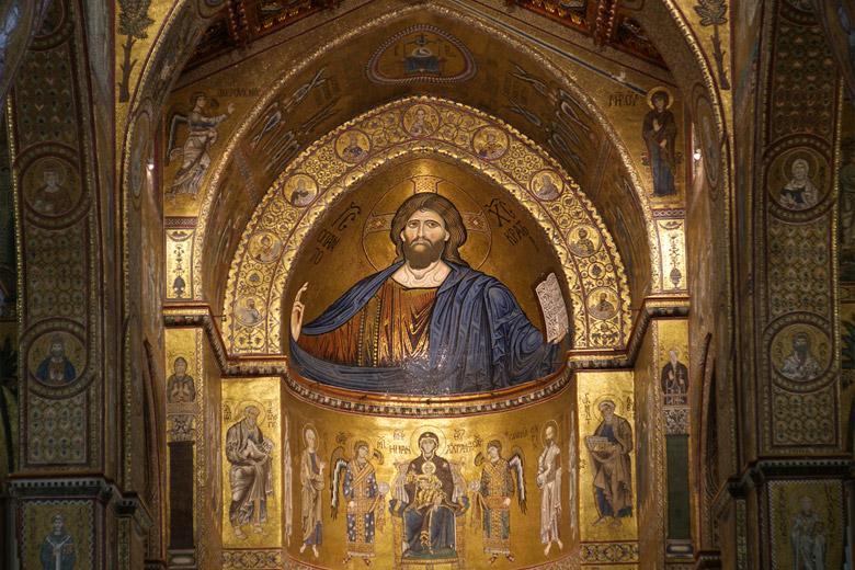 The Christ Pantokrator at Duomo di Monreale in Sicily