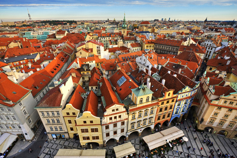 Traditional red roofs in Old Town in Prague