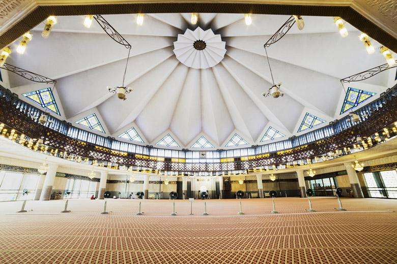 Inside Masjid Negara in Kuala Lumpur